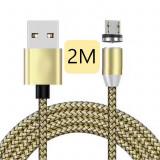 Cablu de incarcare cu conector magnetic 2 M  ,micro-USB,2M,LED,AURIU