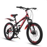 Bicicleta MTB 22 inch, cadru otel, jante aluminiu, schimbator Shimano, 7 viteze, frane pe disc, rosie, Phoenix