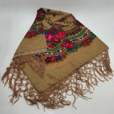 Batic etno mare Imprimeu floral panza Bej