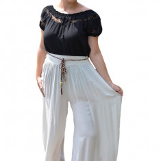 Pantaloni dama lejeri Adelina cu croi evazat si elastic in talie, nuanta de bej