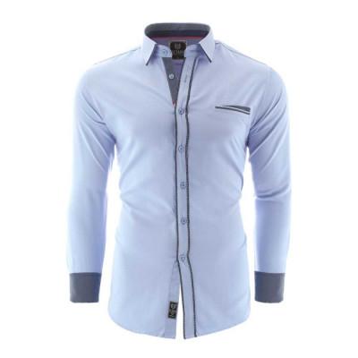 Camasa pentru barbati bleu slim fit elastica casual cu guler catania foto