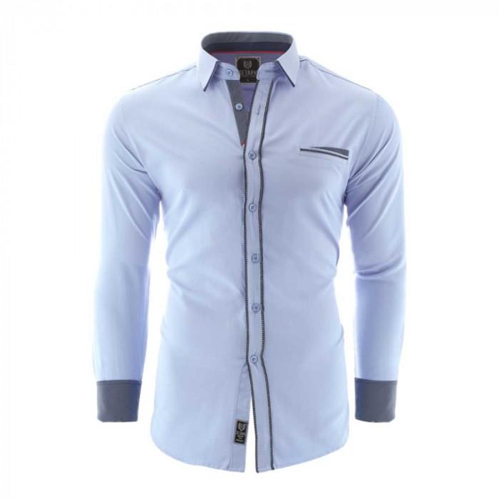 Camasa pentru barbati bleu slim fit elastica casual cu guler catania