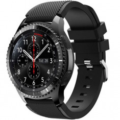 Curea ceas Smartwatch Samsung Gear S3, iUni 22 mm Silicon Black