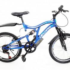 Bicicleta MTB 20 FIVE Honedge full suspension unisex roti 20 Albastru Alb