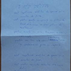 Manuscris Geo Bogza , poezie : A patra impotrivire , 3 pagini