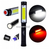 Mini Lanterna COB LED 3W Alb Rosu Lampa Lucru Magnet Wolf Q5