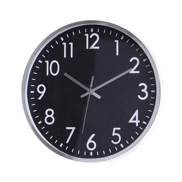 Ceas de perete Shine, rotund, melamina, negru/argintiu, diametru 30.5 cm