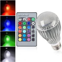 Bec E27 LED RGB 15W 750lm cu TELECOMANDA IR cromoterapie lumini arhitecturale