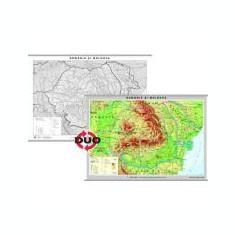 Romania - Harta fizica. Contine pe verso harta in contur - Format 160 x 120cm