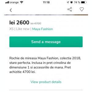 Vand rochie mireasa Maya Fashion, inclusa crinolina si accesorii de mana