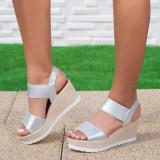 Sandale dama cu platforma argintii Edvina