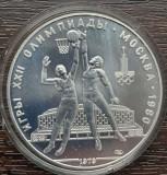 (A819) MONEDA DIN ARGINT RUSIA - 10 RUBLE 1979, JOCURILE OLIMPICE MOSCOVA 80 UNC