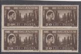 1947 LP 219 MIHAI  VEDERI  EROARE 20 LEI LINIUTA ALBA DUPA CIFRA 0 BLOC DE 4 MNH