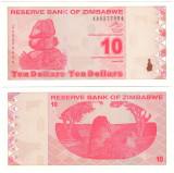 SV * Zimbabwe  10  DOLARI  /  TEN  DOLLARS  2009    AUNC+