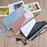 Pink Wallets Phone Pocket Purse Card Holder Patchwork Long Wallet Coin Burse