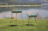 Cumpara ieftin Set 2 scaune din metal, tapitate cu stofa Flower Verde / Auriu, l57xA52xH94 / l56xA48xH72,5 cm