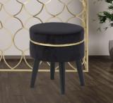 Taburet tapitat cu stofa, cu picioare din lemn Paris Negru, Ø35xH40,5 cm
