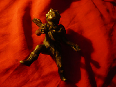 Statueta Ingeras sec XIX bronz ,h=10 ,cateva gaurele : palme , spate foto