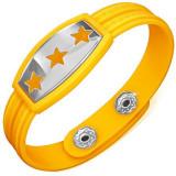 Brățară galbenă din cauciuc - stele pe placă, cheie grecească