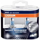 Set 2 becuri auto cu halogen pentru far Osram Night Breaker Unlimited H4 12V 60 55W P43t-38