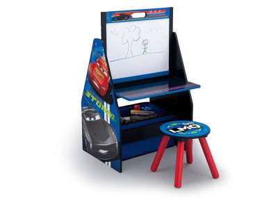 Set 2 in 1 organizator si birou cu tablita si scaun Cars 3 Activity Center foto