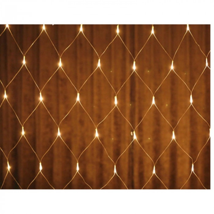 Instalatie de Craciun, 2 m x 2 m, Plasa, Alb Cald, 160 leduri, plasa luminoasa / girlanda / de exterior, 6008WW