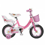 Bicicleta fete Rich Baby T1205C 12 inch C-Brake cu roti ajutatoare 2-4 ani rozalb