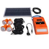 Kit iluminare LED cu incarcare solara, lampa perete, 4 becuri, USB, Radio