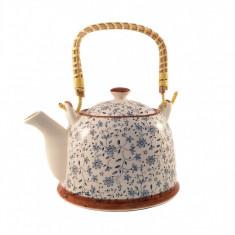 Ceainic Ceramic Albastru, cu maner din bambus, 800 ml