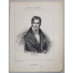 SPONTINI , GRAVURA PE METAL , IMP. D'AUBERT et Cie. , MIJLOCUL SEC. XIX .