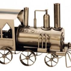 Suport Sticla Vin model Locomotiva cu aburi H 23cm L 37.5cm