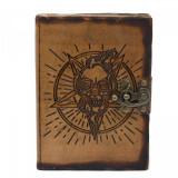 Agenda / Jurnal cu coperti din piele si incuietoare Pentagrama cu craniu (18x13...