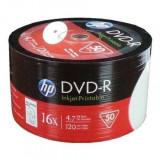 DVD-R printabil, 4.7 GB, viteza scriere 16X, set 50 discuri, alb, HP