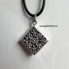 Pandantiv medalion pentru poza din argint - romb cu flori