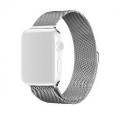 Curea Apple Watch 38mm Series 1,2,3,4 sau 5 de 40mm metalica argintie Milanese cu inchidere magnetica CellPro Secure