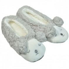 Papuci de dama, model balerini ursulet 3D, marime 40-41, alb/gri