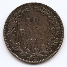 Romania 10 Bani 1867 WATT & CO. - Carol I, Cupru, 30 mm KM-4.2