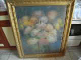 Tablou vechi in ceracolor reprezentand natura statica cu flori, nesemnat,66x86cm, Pastel, Altul