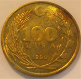Moneda 100 LIRE - TURCIA, anul 1990 *cod 1145 B, Europa