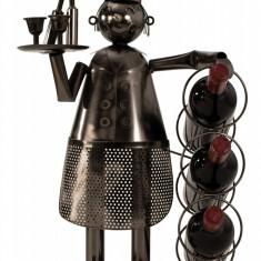 Suport metal pentru 3 sticle vin model bucatar H 53 cm latime 36 cm