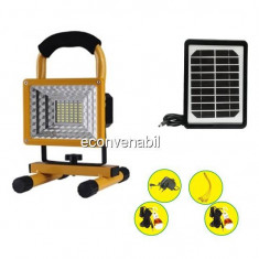 Proiector LED 20W cu 2 Becuri, Incarcare Solara si 220V DAT AT8880