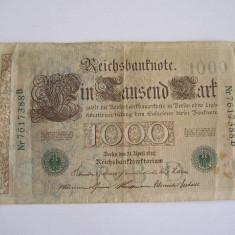 MDBS - BANCNOTA FOARTE VECHE - GERMANIA - 1000 MARCI - 1910