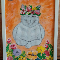 "Tablou pictura acrilica ""Zen Cat"""