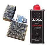 Bricheta tip zippo, 3D relief, metalica, cannabis, lichid zippo 125 ml