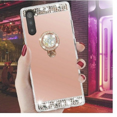 Husa silicon oglinda , pietricele si inel  Samsung Galaxy Note 10 Roz