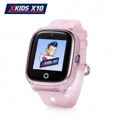 Ceas Smartwatch Pentru Copii Xkids X10 cu Functie Telefon, Localizare GPS, Apel monitorizare, Camera, Pedometru, SOS, IP54, Incarcare magnetica - Roz