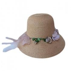 Palarie casual-elegant din material subtire, de vara, cu flori
