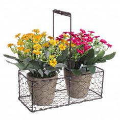 Set 2 ghivece flori artificiale cu cos metal 20 cm x 9 cm x 22h