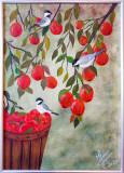 "Tablou pictat 30x40 cm pictura acrilica ""Red"", Pasari, Acrilic, Realism"