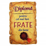 Magnet Diploma pentru cel mai bun FRATE din lume, lemn, Alexer